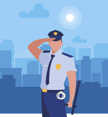 police officer law character vector illustration design