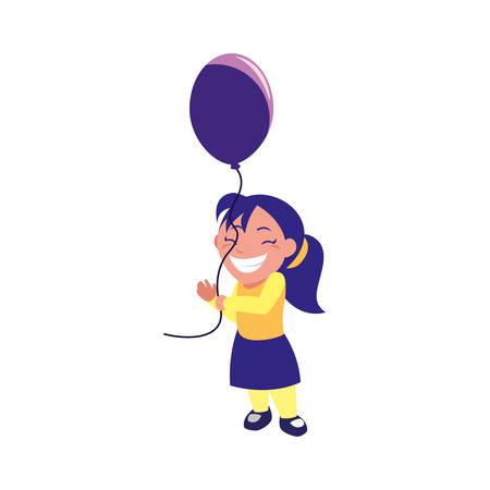 happy girl holding balloon white background vector illustration Illustration