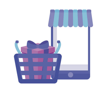 smartphone with shopping basket and gift box vector illustration design