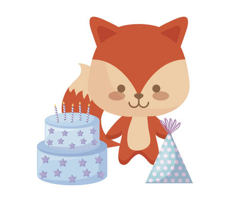 cute fox with sweet cake and hat party vector illustration design