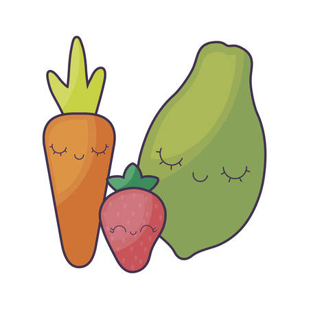 strawberry with carrot and papaya   character vector illustration design