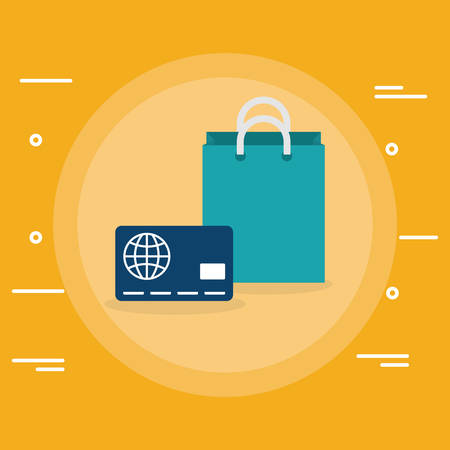 credit card money with shopping bag vector illustration design