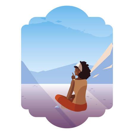 afro woman contemplating horizon in snowscape scene vector illustration design Illustration