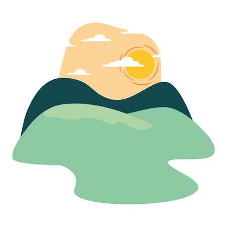 landscape nature sunny day design vector illustration