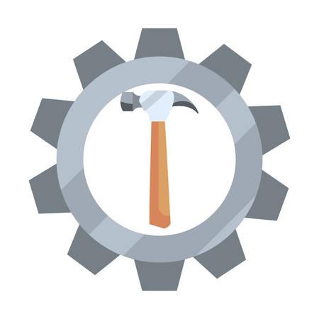 hammer handle wooden gear tool vector illustration design