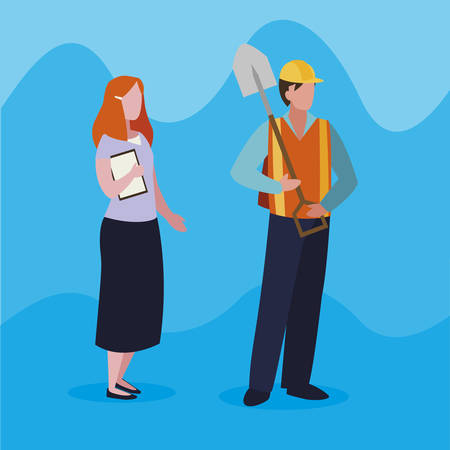 couple of professional workers characters vector illustration design