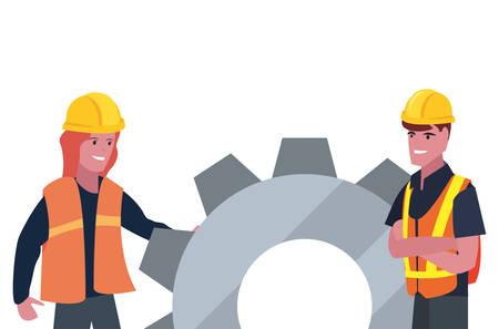 construction worker male female gear vector illustration design Иллюстрация