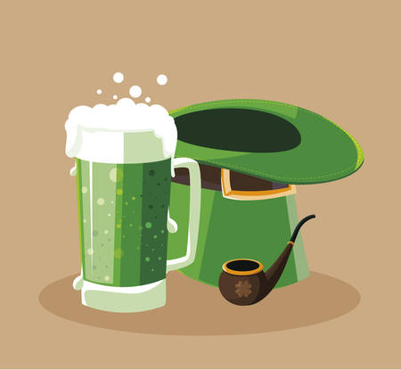 lemprechaun tophat with beer drink and pipe wooden vector illustration design  イラスト・ベクター素材