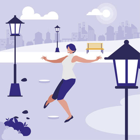 young woman dancing in the park character vector illustration design Banque d'images - 129931751