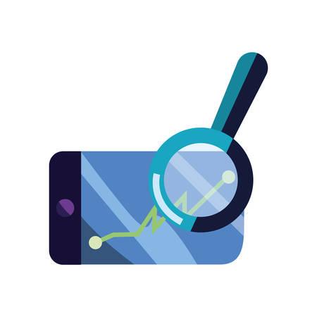 cellphone app chart report magnifier vector illustration Illusztráció