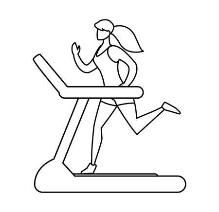 athletic woman running in electric treadmill tape vector illustration design  イラスト・ベクター素材