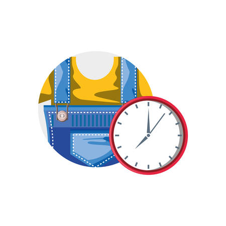 overall uniform construction in frame circular with clock time vector illustration design