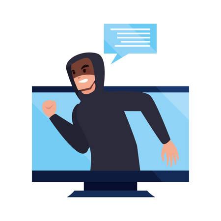 hacker man computer cybersecurity data protection vector illustration Illusztráció