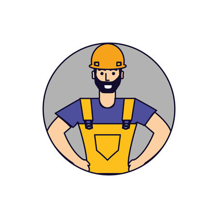 worker construction man in frame circular vector illustration design