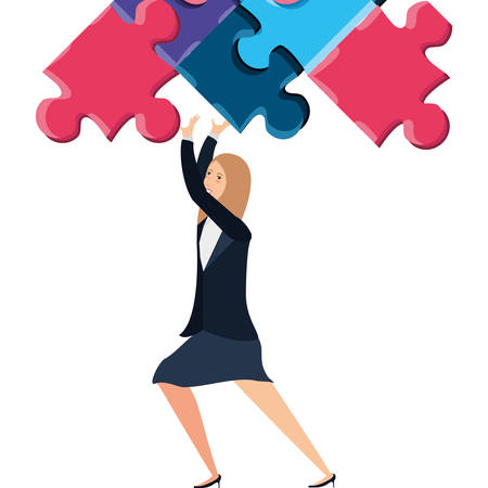business woman with puzzle pieces vector illustration design  イラスト・ベクター素材