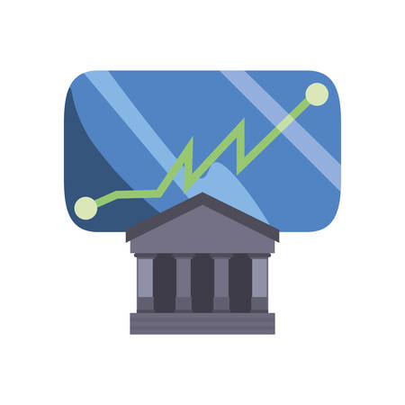 bank smartphone chart finance on white background vector illustration Çizim