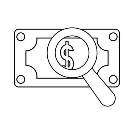 banknote money magnifying glass vector illustration design Illusztráció