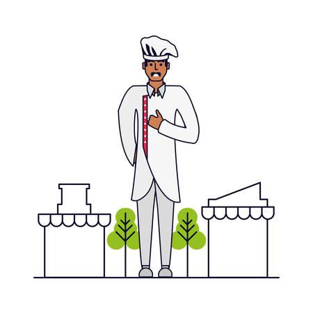 professional chef with cityscape vector illustration design