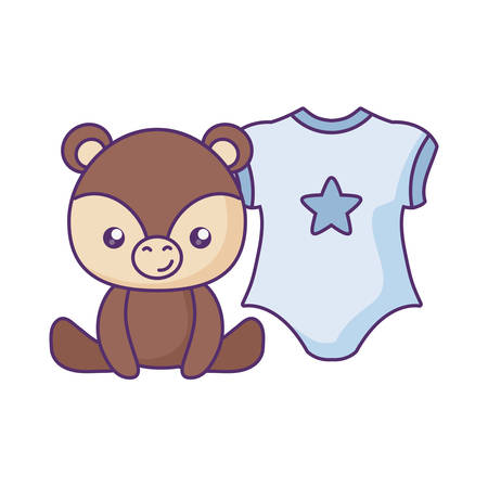 cute little bear with clothes baby vector illustration design