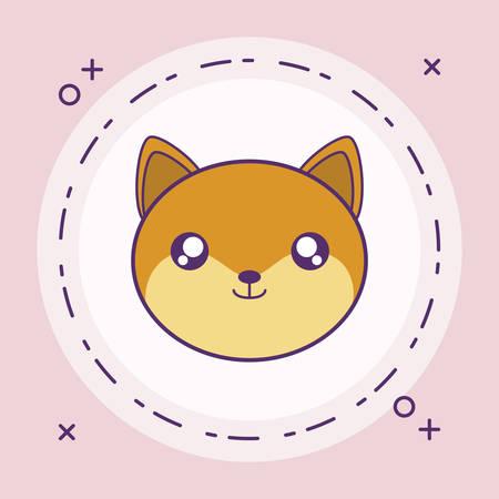 head of cute little fox baby in frame circular vector illustration design Иллюстрация
