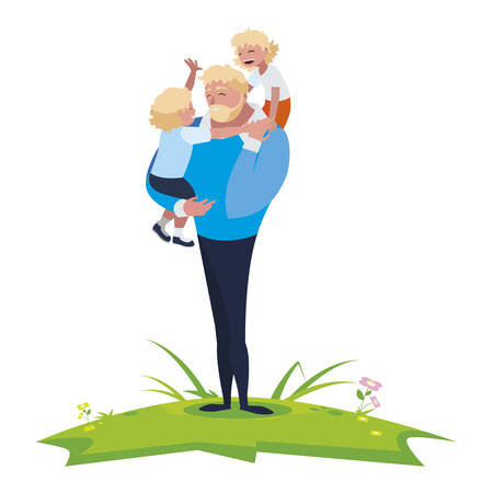 father with sons characters in the field vector illustration design  イラスト・ベクター素材