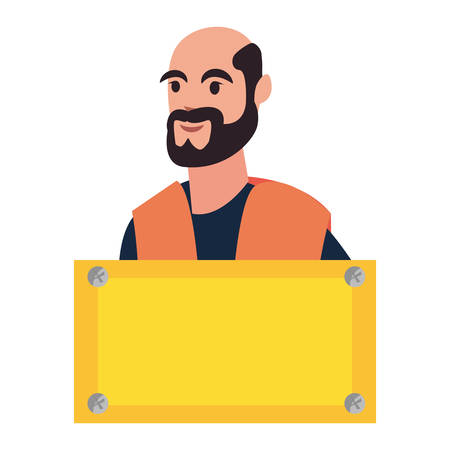 construction worker board labour day vector illustration 일러스트