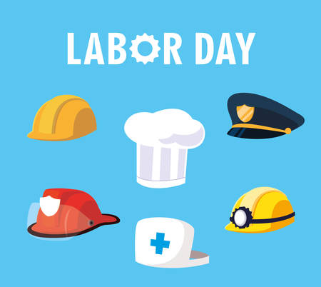 labor day card with helmets and hats of professionals vector illustration design