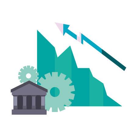 bank growth diagram arrow business vector illustration
