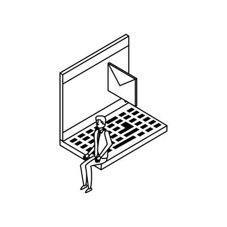 businessman worker with laptop and envelope vector illustration design Çizim