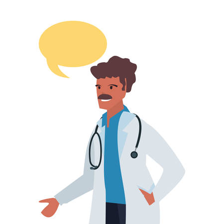 doctor speech bubble labour day vector illustration  イラスト・ベクター素材