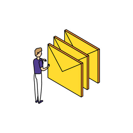 businessman worker with envelope mail vector illustration design