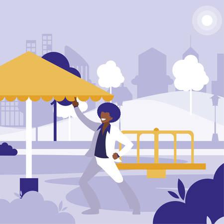 young black dancer dancing in the park vector illustration design