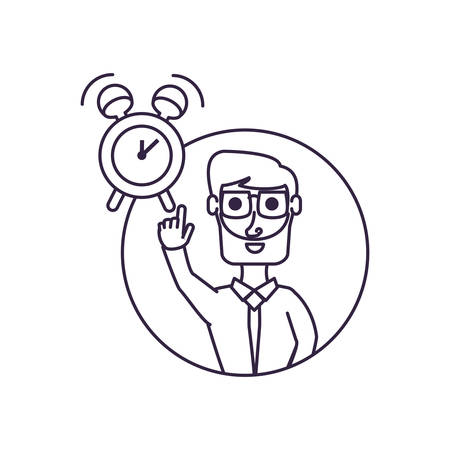 businessman with hand up in frame circular and alarm clock vector illustration design