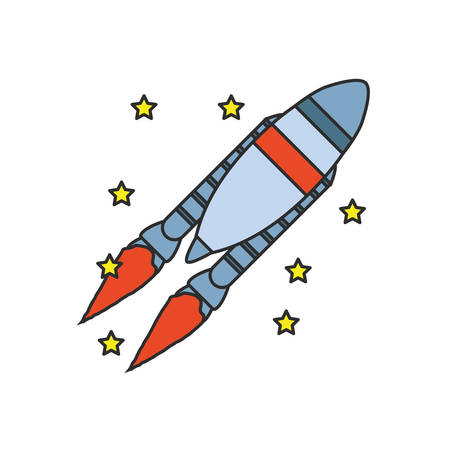 rocket startup with stars vector illustration design 向量圖像