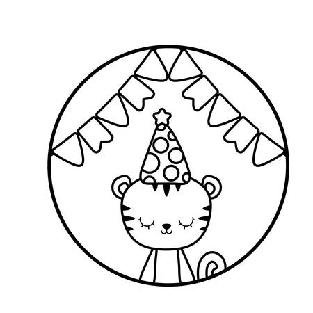 cute tiger with hat party in frame circular vector illustration design Иллюстрация