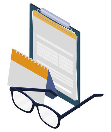 checklist clipboard with glasses vector illustration design