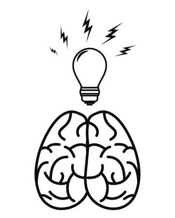 human brain bulb creativity on white background vector illustration