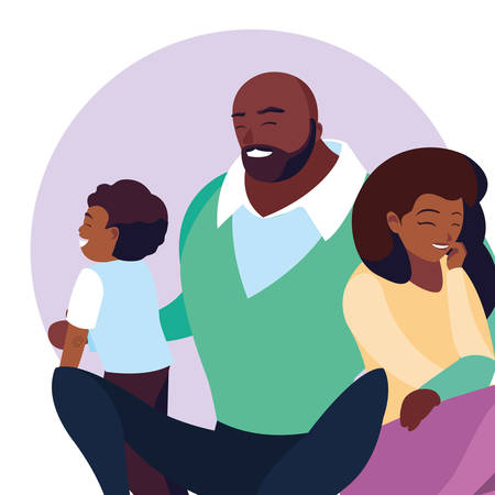 afro parents with son family avatar character vector illustration design