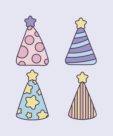 set of party hats decorative icon vector illustration design Ilustração