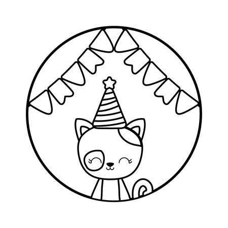 cute cat with hat party in frame circular vector illustration design Иллюстрация
