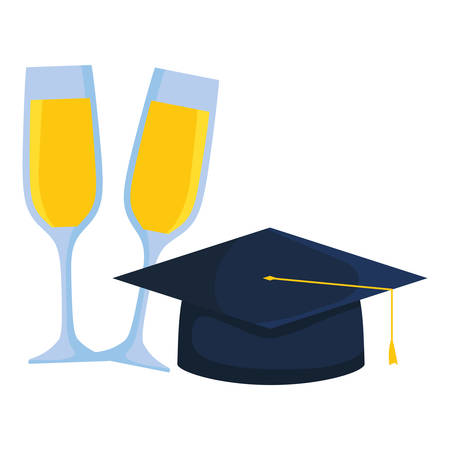 hat graduation with champagne cups vector illustration design