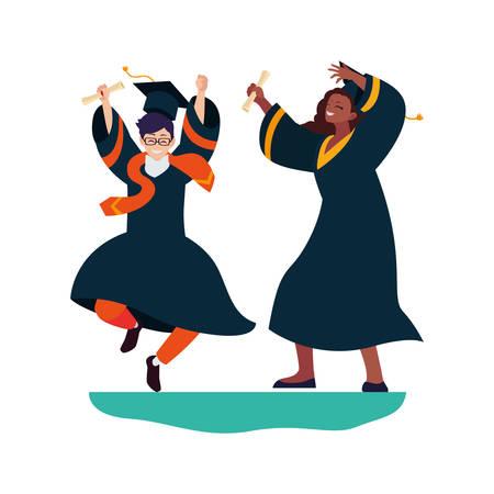 interracial couple students graduated celebrating vector illustration design