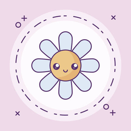 cute flower decoration kawaii style vector illustration design