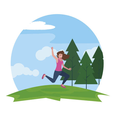 happy young woman celebrating in the camp vector illustration design