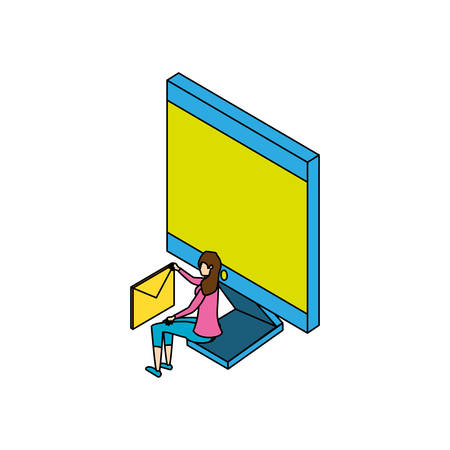 businesswoman worker with computer and envelope vector illustration design