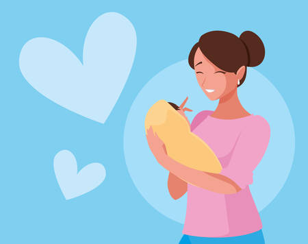 cute mother with baby and hearts vector illustration design