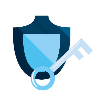 shield and key cybersecurity data protection vector illustration Иллюстрация