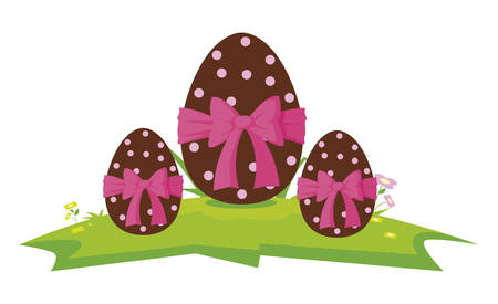 happy easter eggs painted with bow vector illustration design  イラスト・ベクター素材