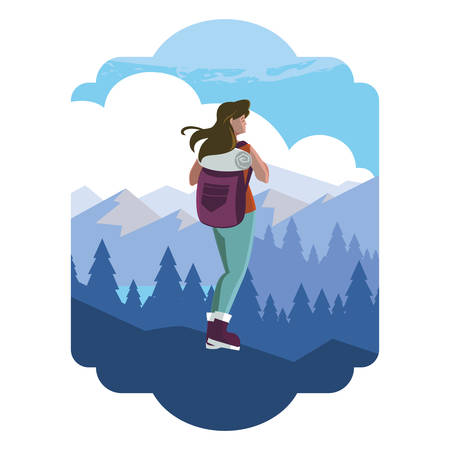 adventurous woman with travelbag in the snowscape vector illustration design 일러스트