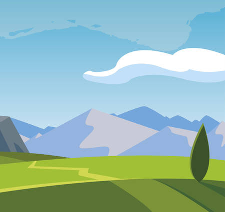 field camp and mountains landscape scene vector illustration design 矢量图像